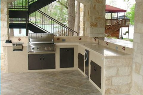 outdoor kitchen; patios and pools driveways